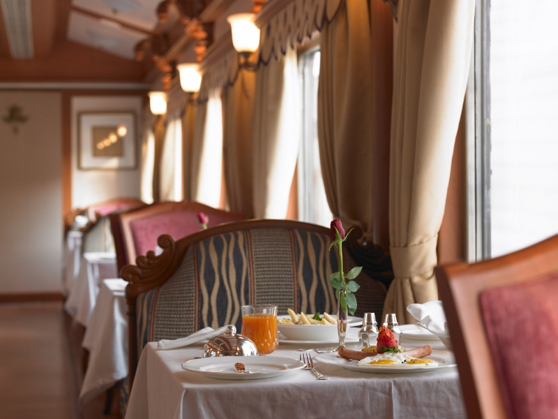 The Golden Chariot The pride of the south Dining Room Luxury Train Travel India Tours and Travel Specialists India Trains