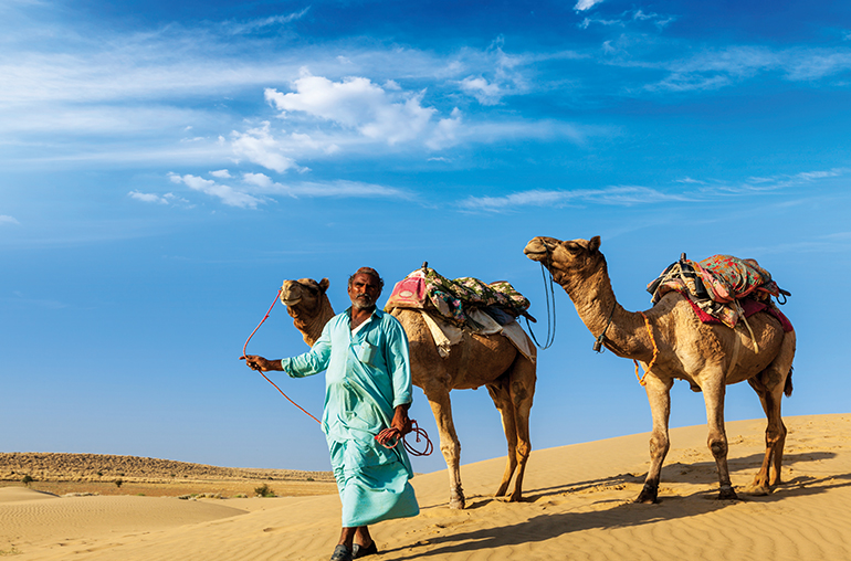 jaisalmer  desert camles and man india