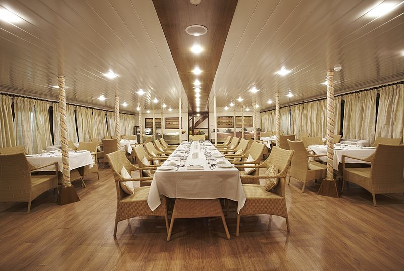 MV Mahabaahu Onboard Dining India luxury cruising Brahmaputra River India river cruises India Tours and Travel Specialists