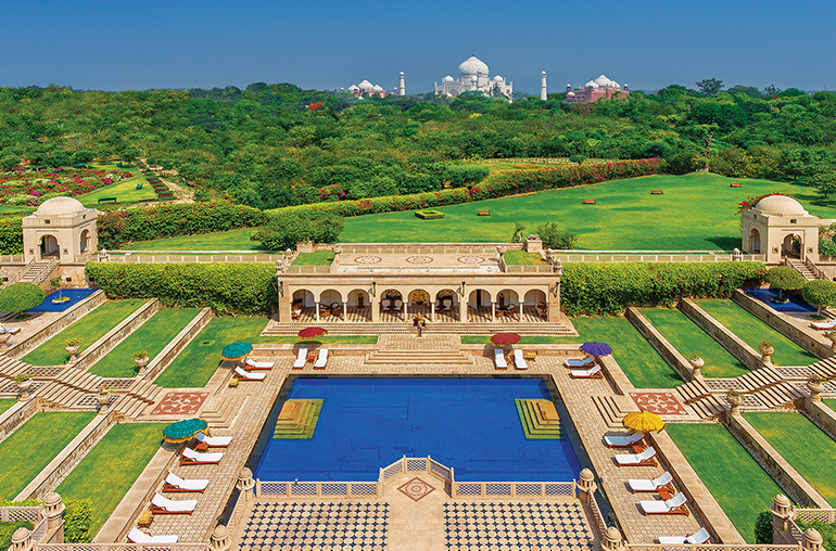 the oberoi amarvilas agra pool  taj mahal  india