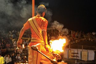 Varanasi  Ganga Aarti  man and fire