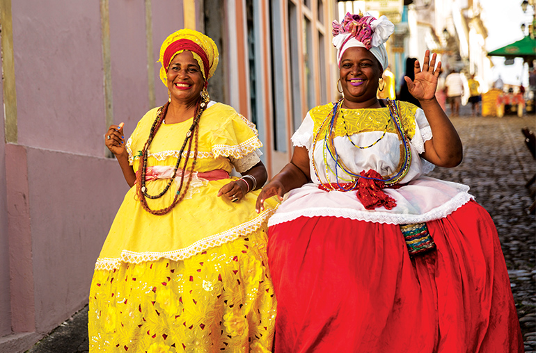 "Baiana"" with local costume in Pelourinho, Salvador, Bahia Brazil South America South American Travel Specialists"
