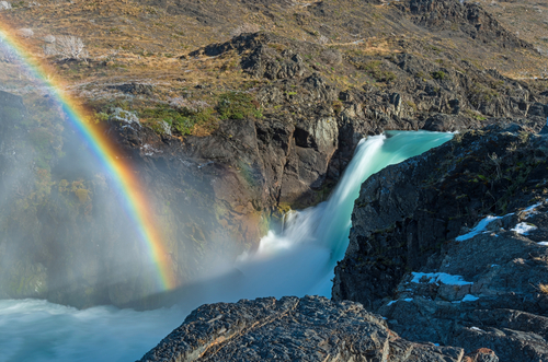 Waterfall Torres Del Paine National Park Chile Sound Stock Fooe 1021081 Shutterstock