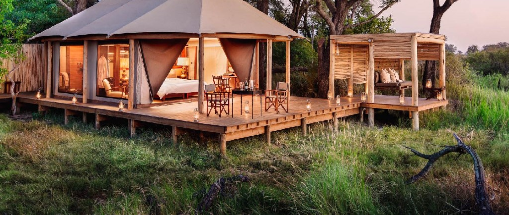 Experience a Botswana Luxury Fly-in Safari, with The African Travel Specialists, while staying at Nxabega Okavango Camp.